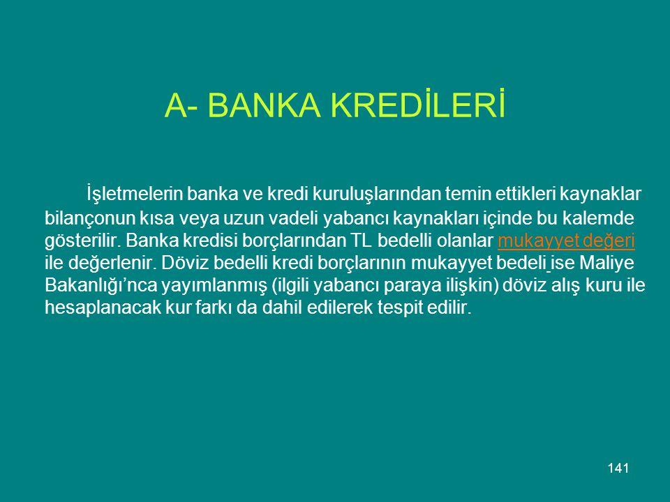 A- BANKA KREDİLERİ