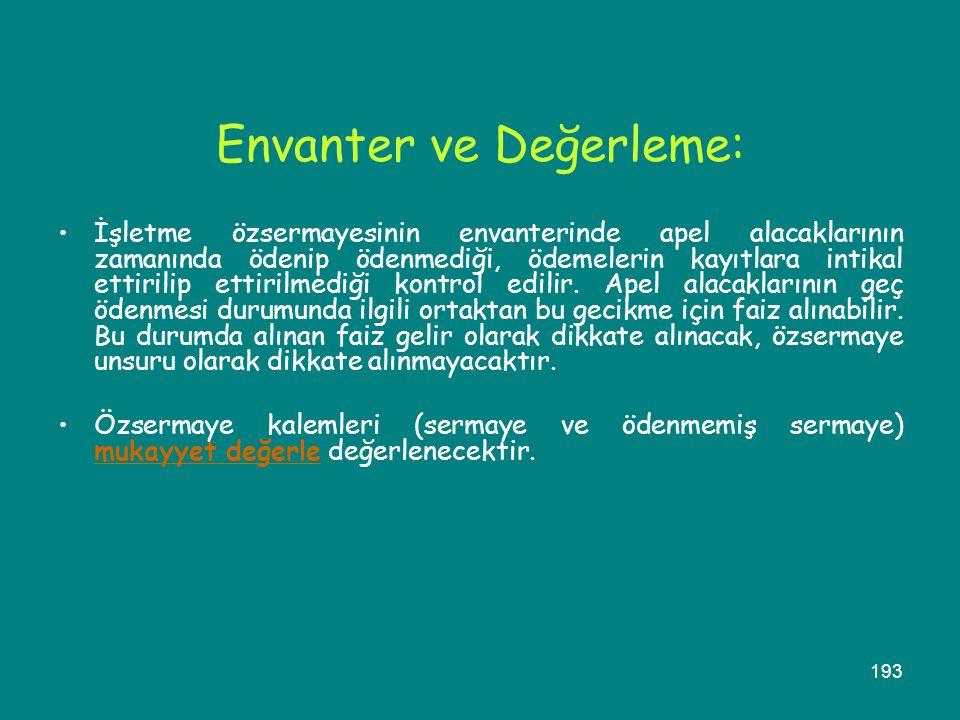 Envanter ve Değerleme: