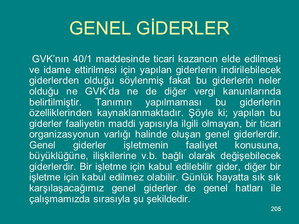 GENEL GİDERLER