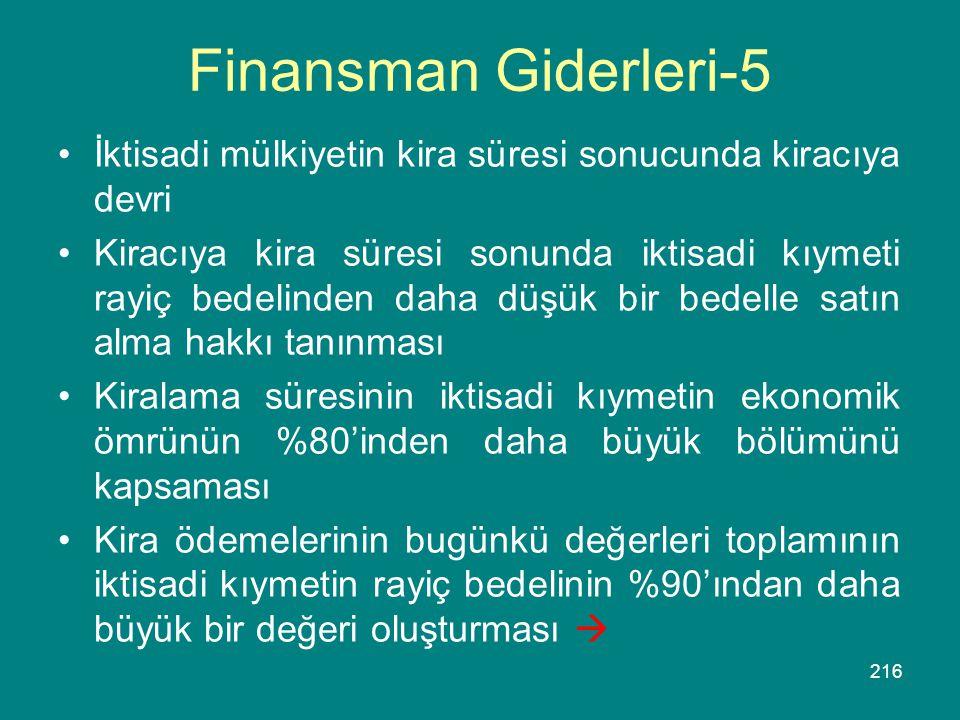 Finansman Giderleri-5 İktisadi mülkiyetin kira süresi sonucunda kiracıya devri.