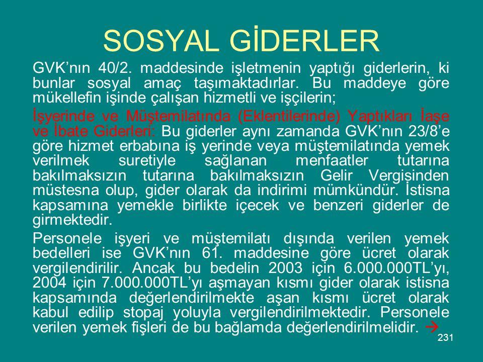 SOSYAL GİDERLER