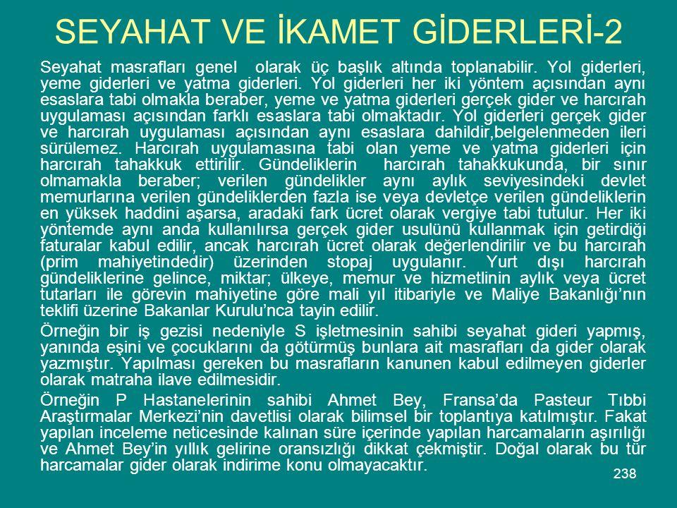 SEYAHAT VE İKAMET GİDERLERİ-2