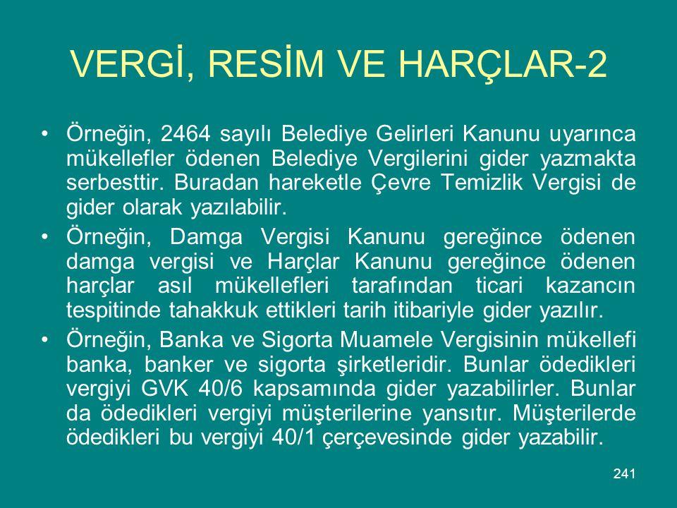 VERGİ, RESİM VE HARÇLAR-2