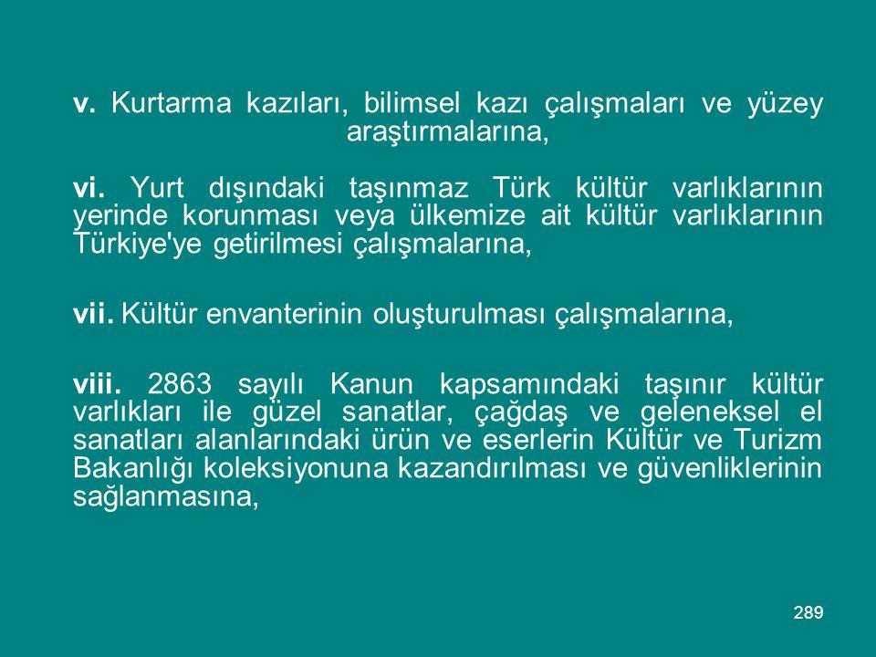 v. Kurtarma kazıları, bilimsel kazı çalışmaları ve yüzey araştırmalarına, vi. Yurt dışındaki taşınmaz Türk kültür varlıklarının yerinde korunması veya ülkemize ait kültür varlıklarının Türkiye ye getirilmesi çalışmalarına,