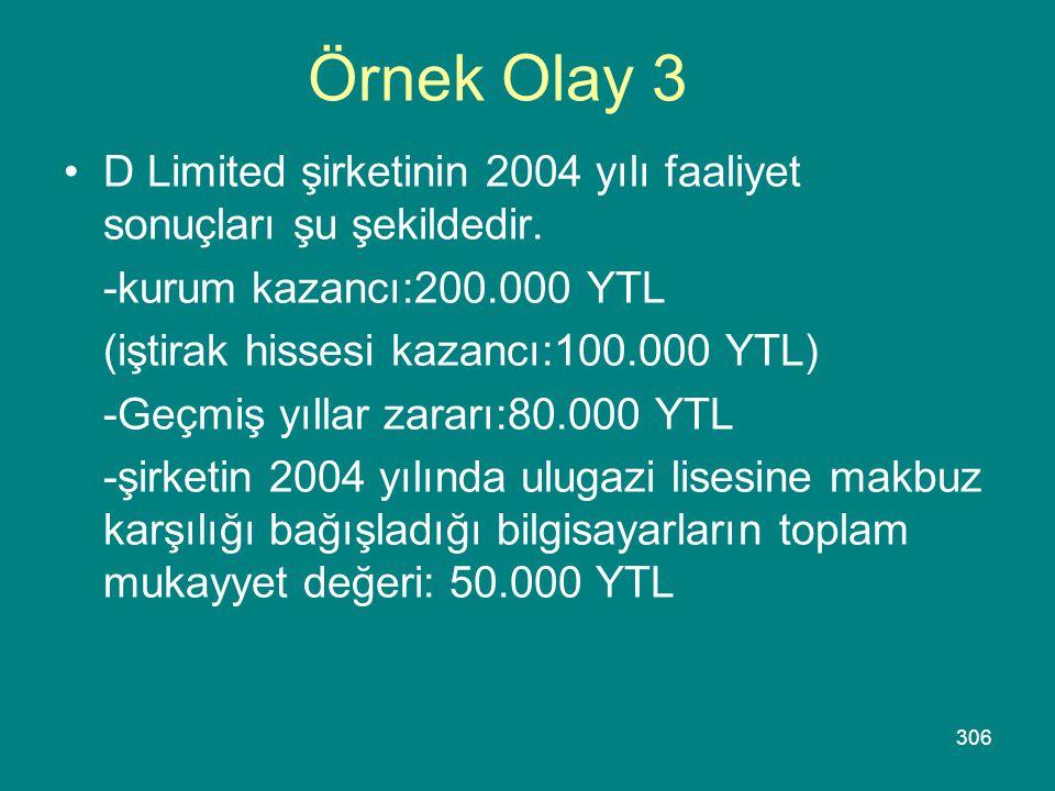Örnek Olay 3 D Limited şirketinin 2004 yılı faaliyet sonuçları şu şekildedir. -kurum kazancı:200.000 YTL.