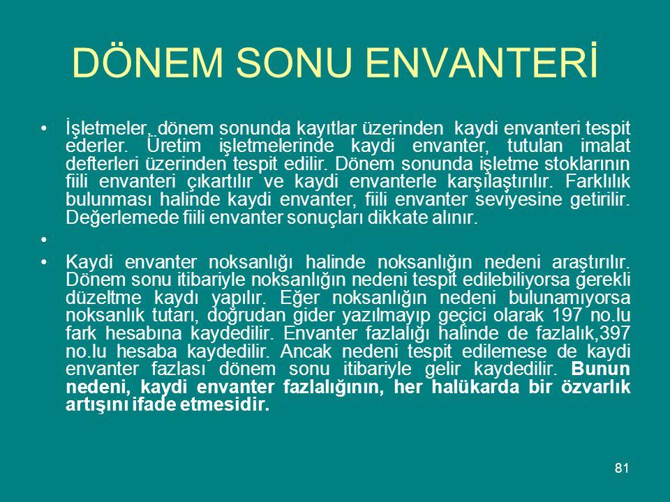 DÖNEM SONU ENVANTERİ