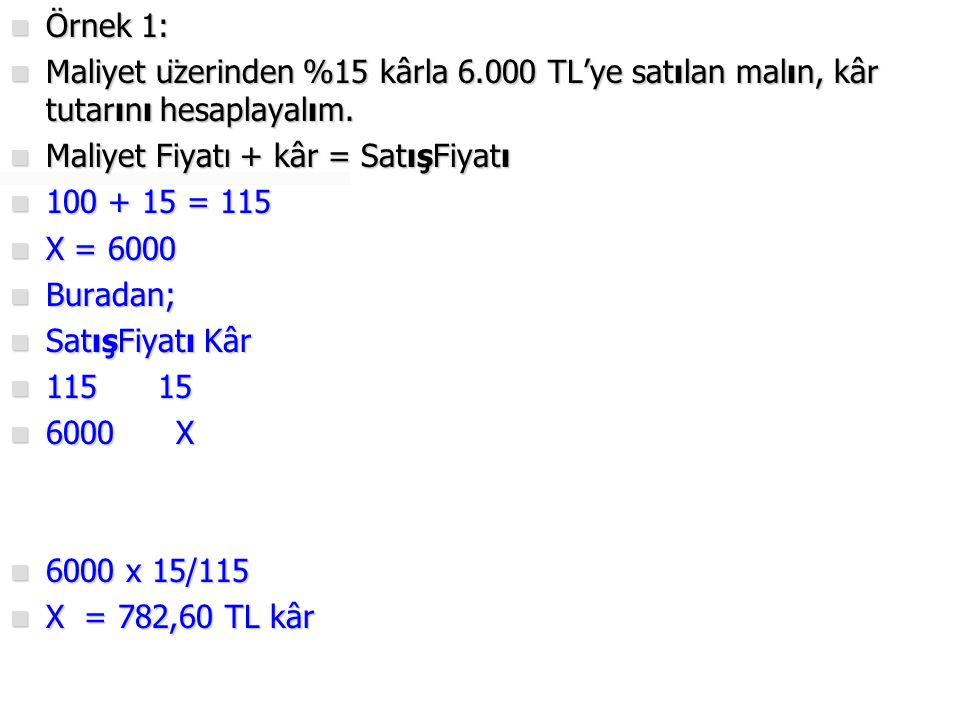Örnek 1: Maliyet üzerinden %15 kârla 6.000 TL'ye satılan malın, kâr tutarını hesaplayalım. Maliyet Fiyatı + kâr = SatışFiyatı.
