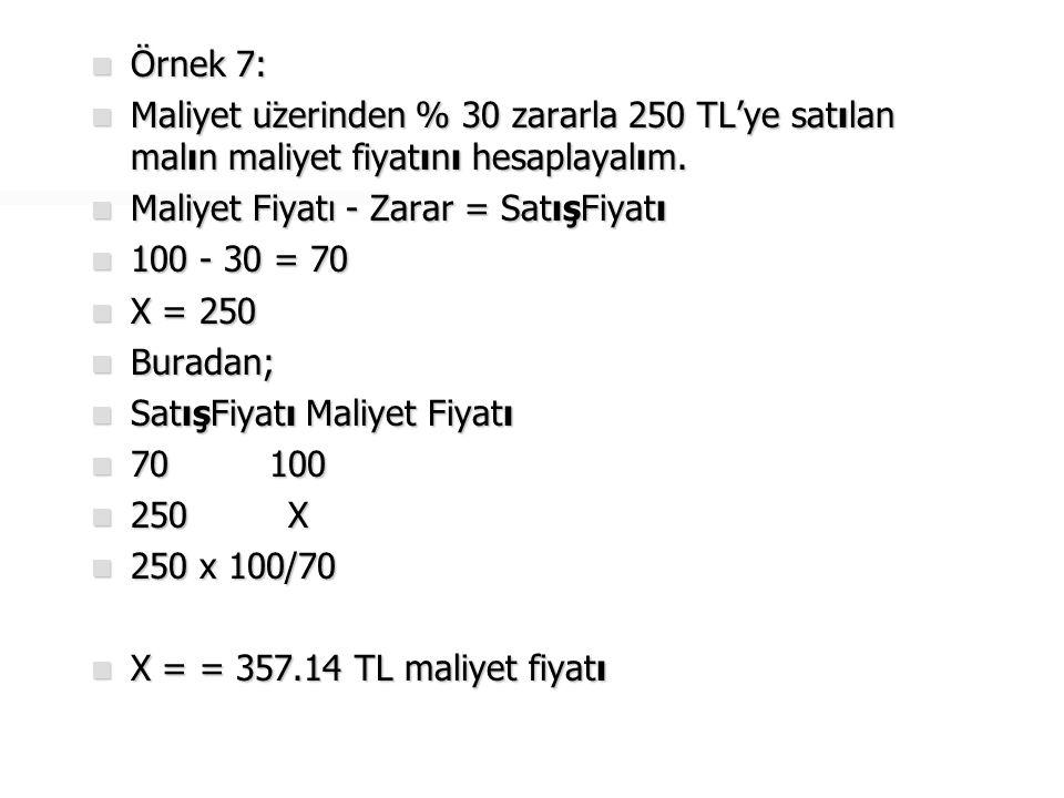 Örnek 7: Maliyet üzerinden % 30 zararla 250 TL'ye satılan malın maliyet fiyatını hesaplayalım. Maliyet Fiyatı - Zarar = SatışFiyatı.