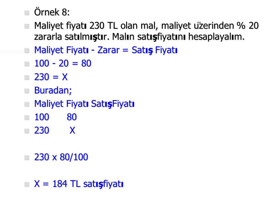Örnek 8: Maliyet fiyatı 230 TL olan mal, maliyet üzerinden % 20 zararla satılmıştır. Malın satışfiyatını hesaplayalım.