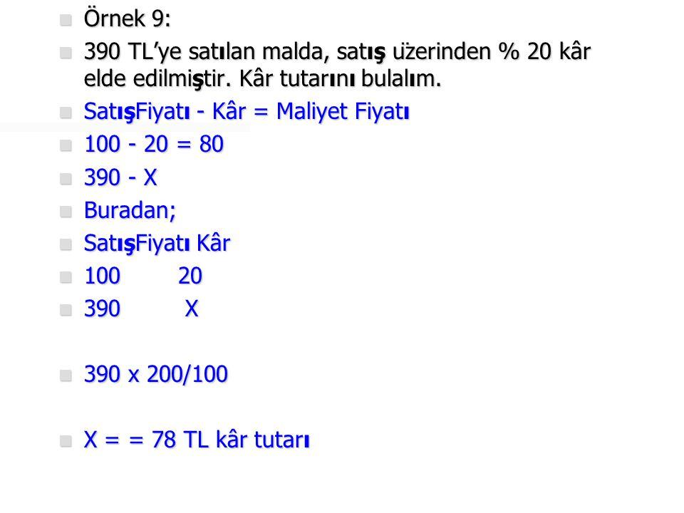 Örnek 9: 390 TL'ye satılan malda, satış üzerinden % 20 kâr elde edilmiştir. Kâr tutarını bulalım. SatışFiyatı - Kâr = Maliyet Fiyatı.