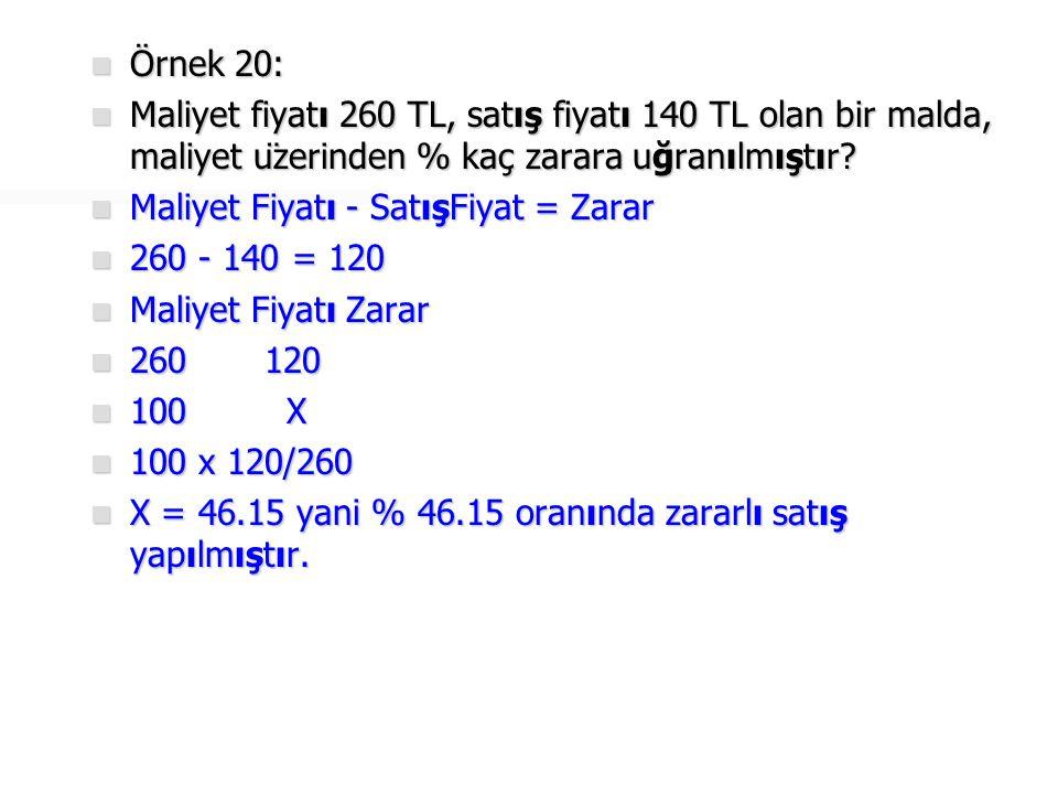 Örnek 20: Maliyet fiyatı 260 TL, satış fiyatı 140 TL olan bir malda, maliyet üzerinden % kaç zarara uğranılmıştır