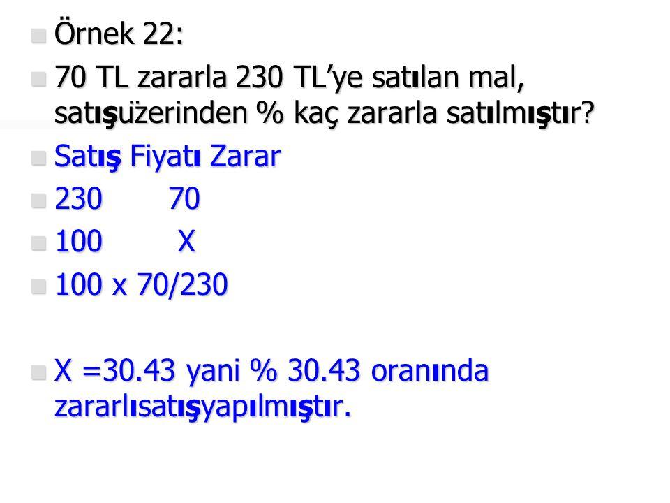Örnek 22: 70 TL zararla 230 TL'ye satılan mal, satışüzerinden % kaç zararla satılmıştır Satış Fiyatı Zarar.