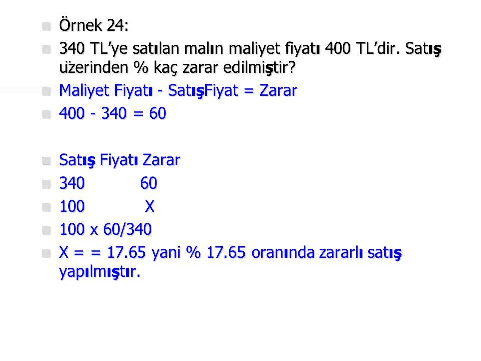 Örnek 24: 340 TL'ye satılan malın maliyet fiyatı 400 TL'dir. Satış üzerinden % kaç zarar edilmiştir