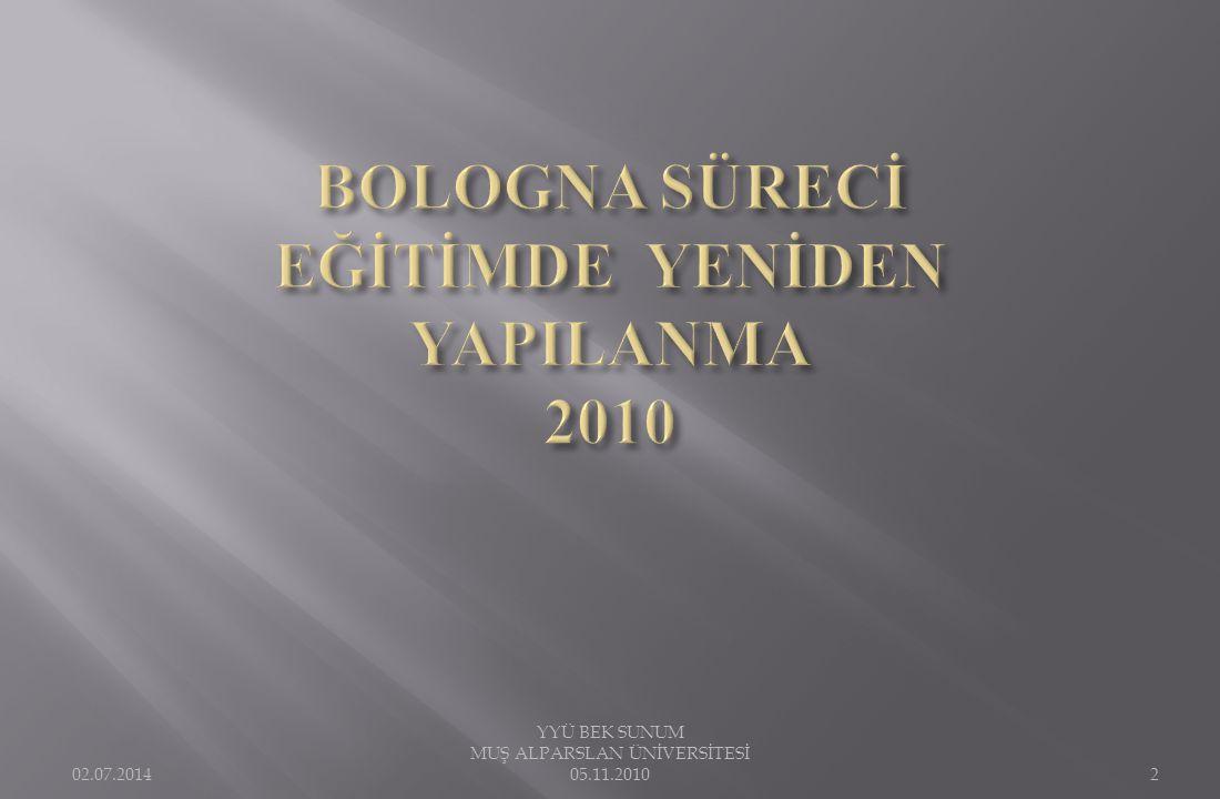BOLOGNA SÜRECİ EĞİTİMDE YENİDEN YAPILANMA 2010