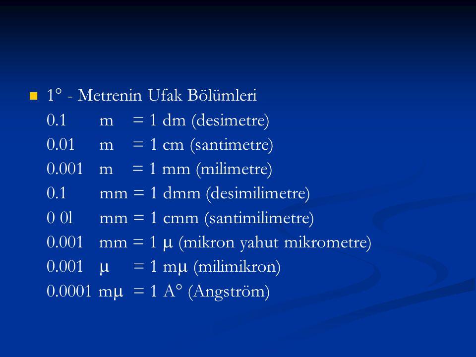 1° - Metrenin Ufak Bölümleri