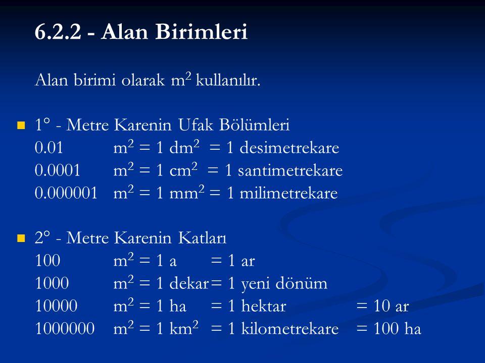6.2.2 - Alan Birimleri Alan birimi olarak m2 kullanılır.