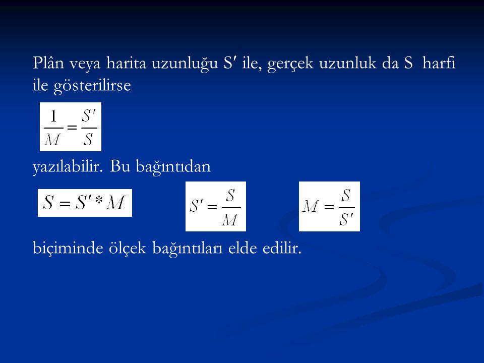 Plân veya harita uzunluğu S ile, gerçek uzunluk da S harfi ile gösterilirse