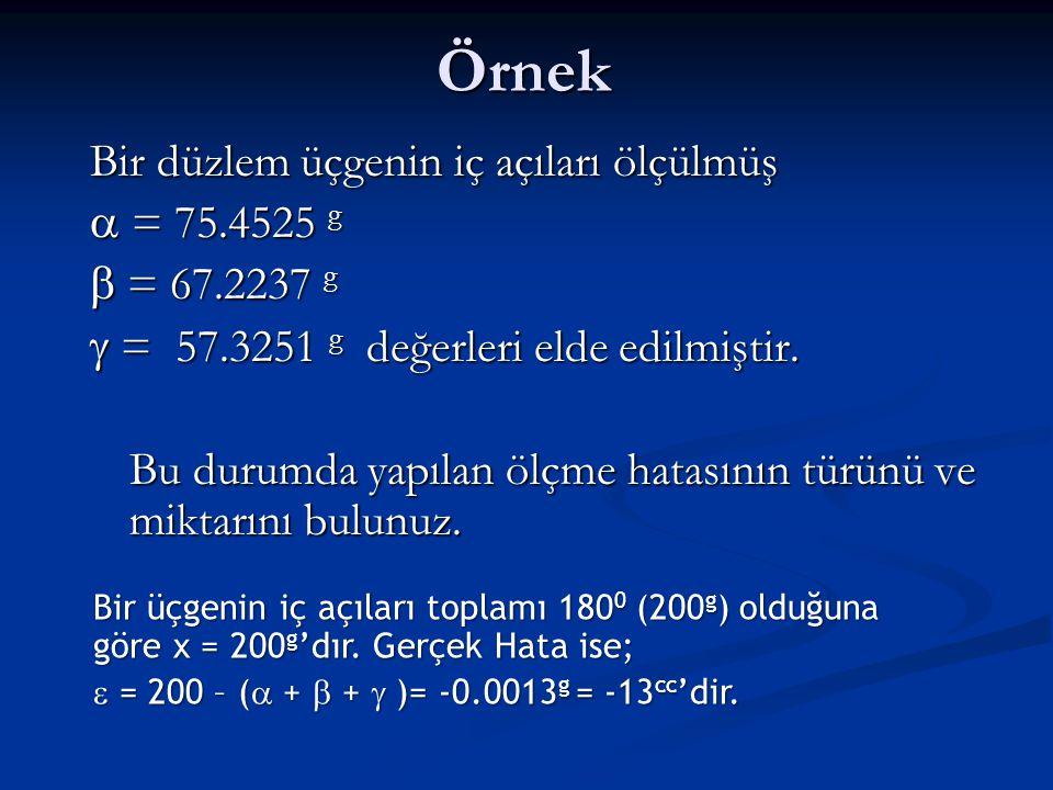 Örnek Bir düzlem üçgenin iç açıları ölçülmüş  = 75.4525 g