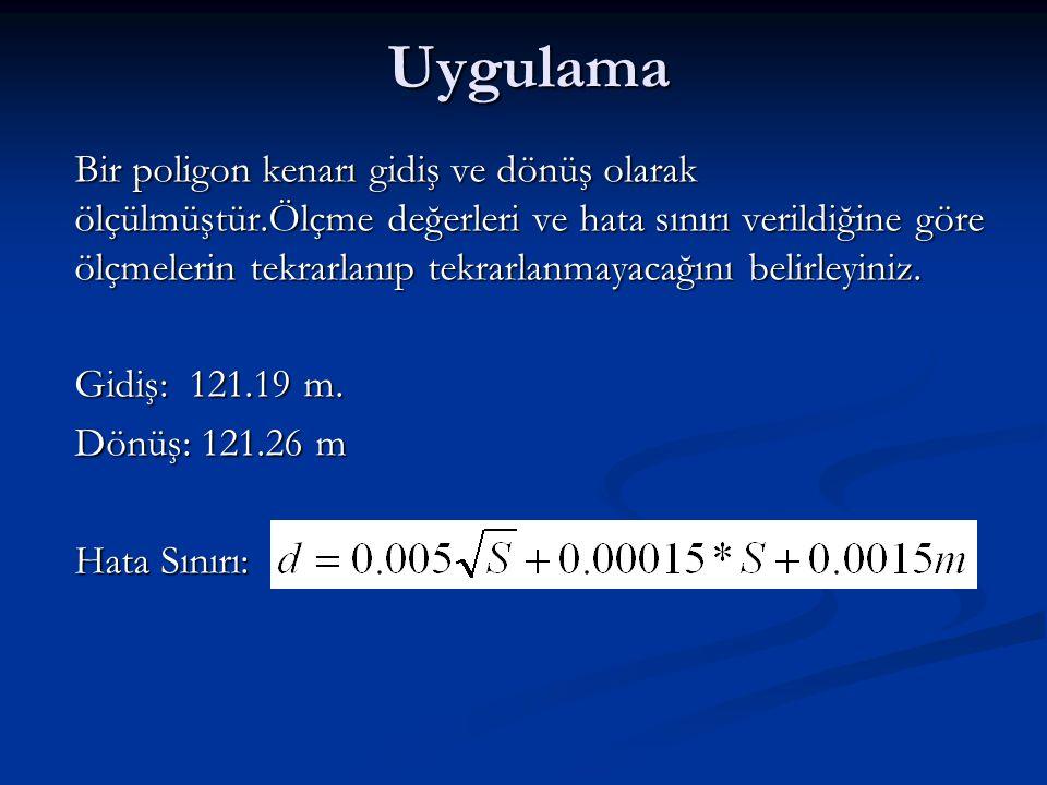 Uygulama Gidiş: 121.19 m. Dönüş: 121.26 m Hata Sınırı: