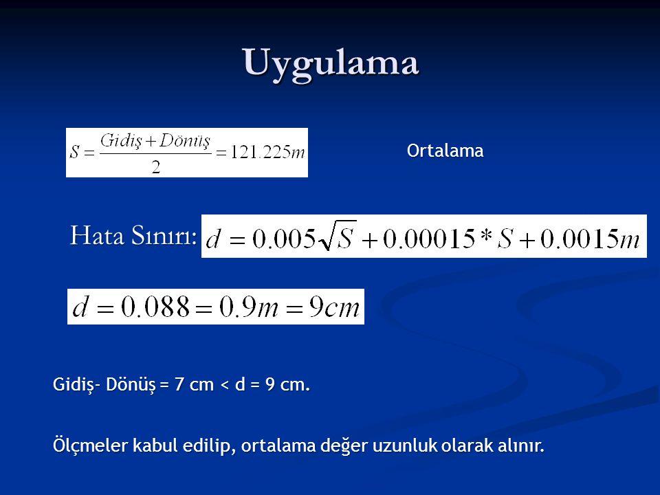 Uygulama Hata Sınırı: Ortalama Gidiş- Dönüş = 7 cm < d = 9 cm.