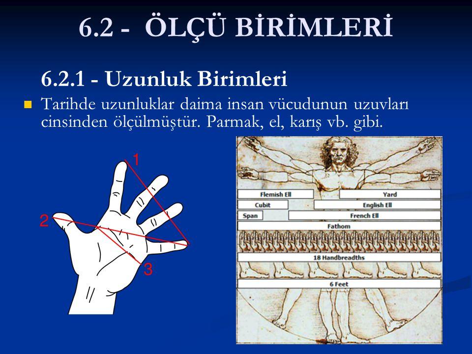 6.2 - ÖLÇÜ BİRİMLERİ 6.2.1 - Uzunluk Birimleri