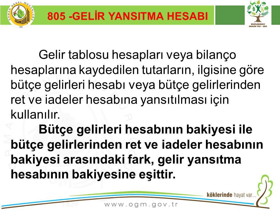 805 -GELİR YANSITMA HESABI