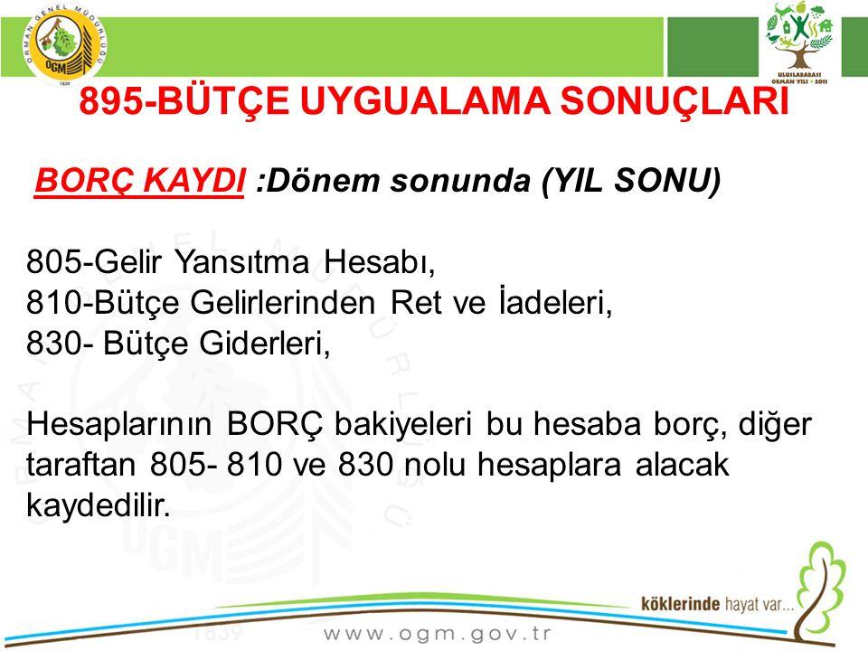 895-BÜTÇE UYGUALAMA SONUÇLARI