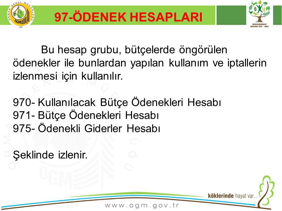 97-ÖDENEK HESAPLARI 970- Kullanılacak Bütçe Ödenekleri Hesabı