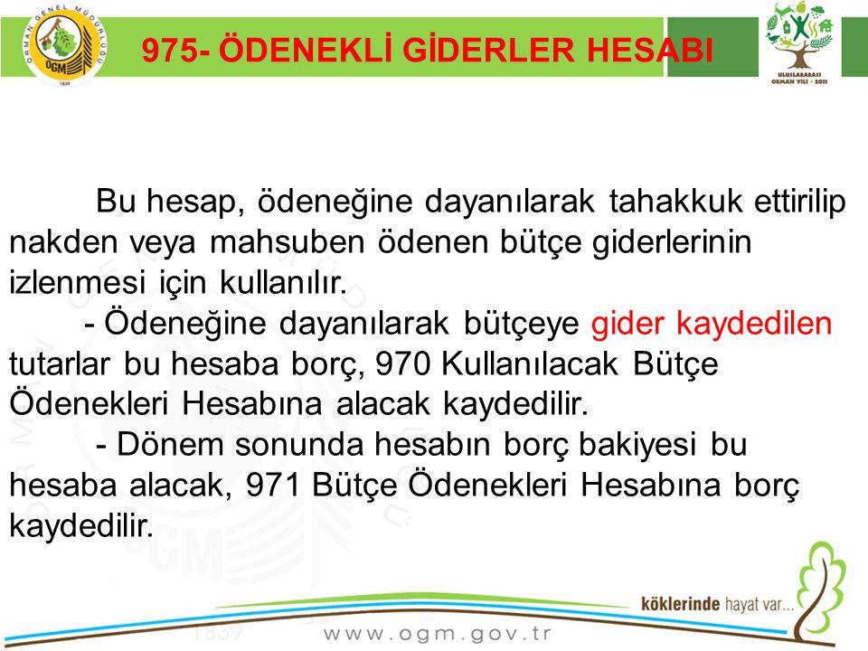 975- ÖDENEKLİ GİDERLER HESABI