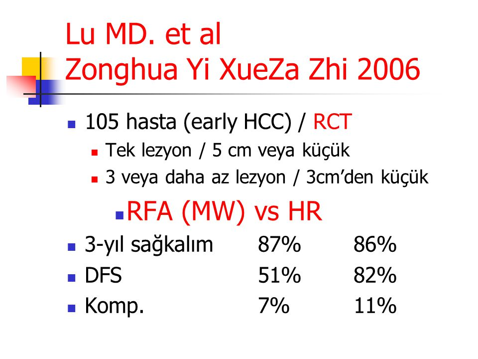 Lu MD. et al Zonghua Yi XueZa Zhi 2006