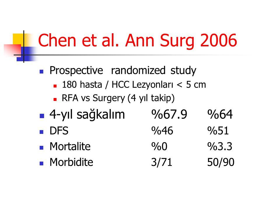 Chen et al. Ann Surg 2006 4-yıl sağkalım %67.9 %64