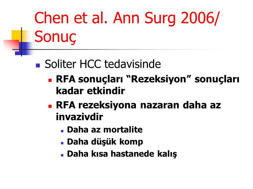 Chen et al. Ann Surg 2006/ Sonuç
