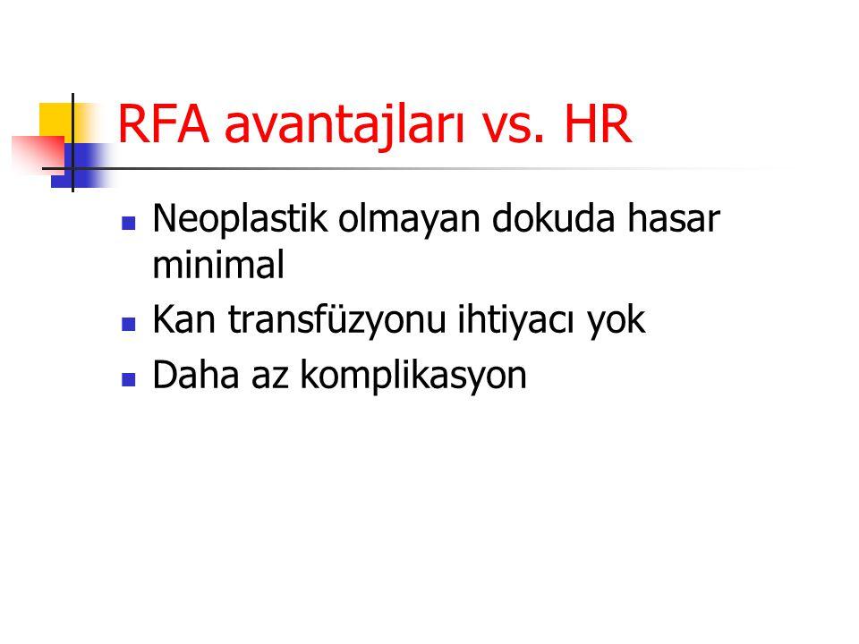 RFA avantajları vs. HR Neoplastik olmayan dokuda hasar minimal
