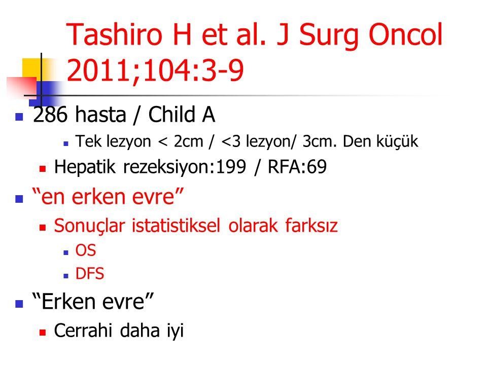 Tashiro H et al. J Surg Oncol 2011;104:3-9