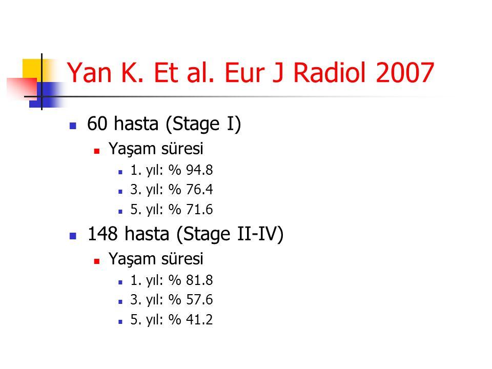 Yan K. Et al. Eur J Radiol 2007 60 hasta (Stage I)