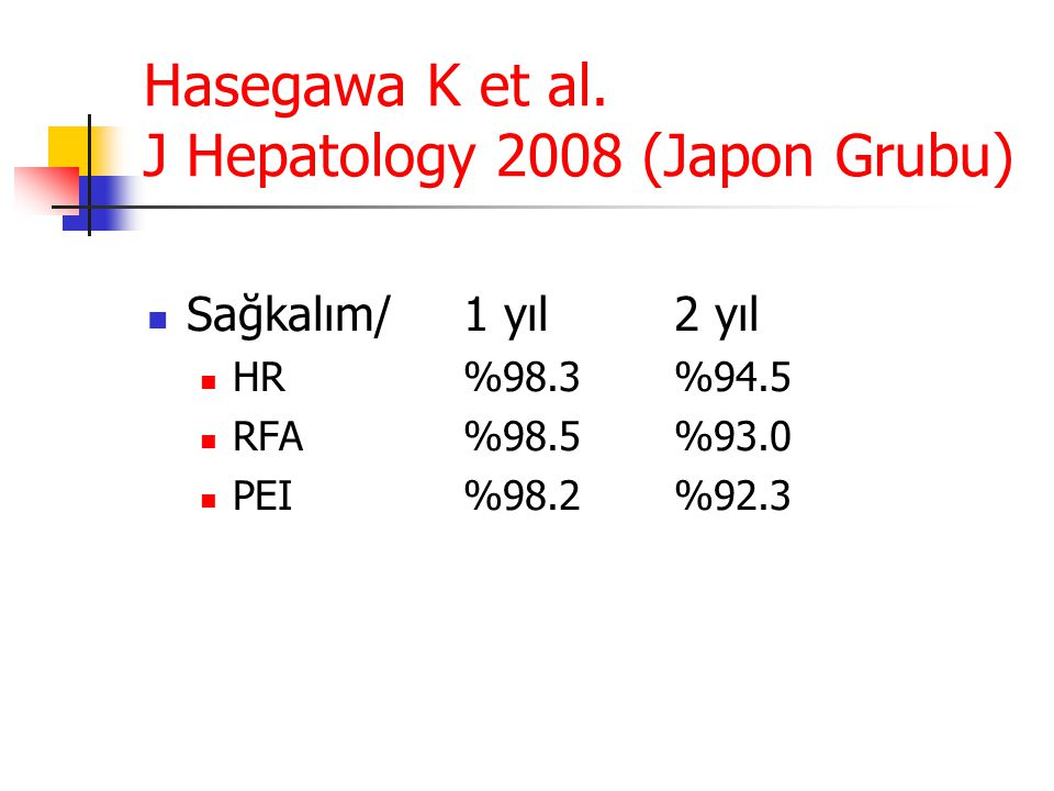 Hasegawa K et al. J Hepatology 2008 (Japon Grubu)