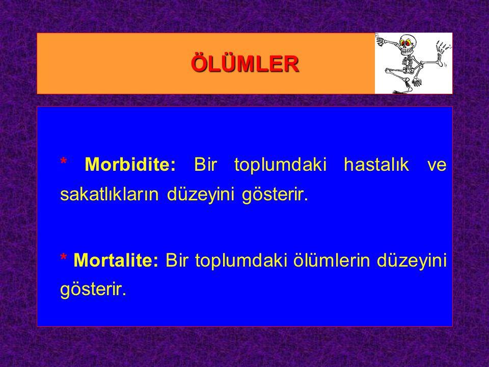 ÖLÜMLER * Morbidite: Bir toplumdaki hastalık ve sakatlıkların düzeyini gösterir.