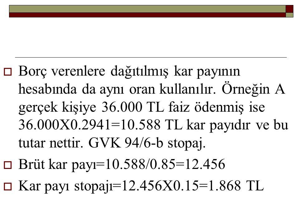 Borç verenlere dağıtılmış kar payının hesabında da aynı oran kullanılır. Örneğin A gerçek kişiye 36.000 TL faiz ödenmiş ise 36.000X0.2941=10.588 TL kar payıdır ve bu tutar nettir. GVK 94/6-b stopaj.