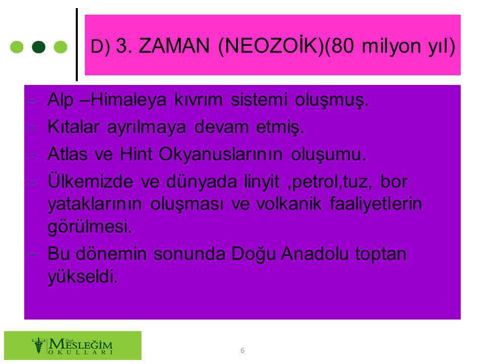 D) 3. ZAMAN (NEOZOİK)(80 milyon yıl)