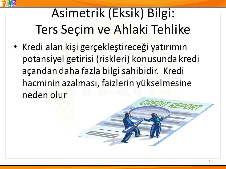 Asimetrik (Eksik) Bilgi: Ters Seçim ve Ahlaki Tehlike