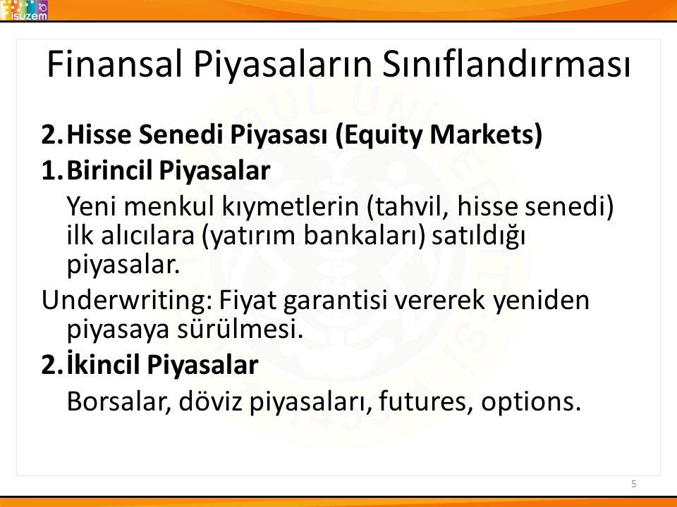 Finansal Piyasaların Sınıflandırması