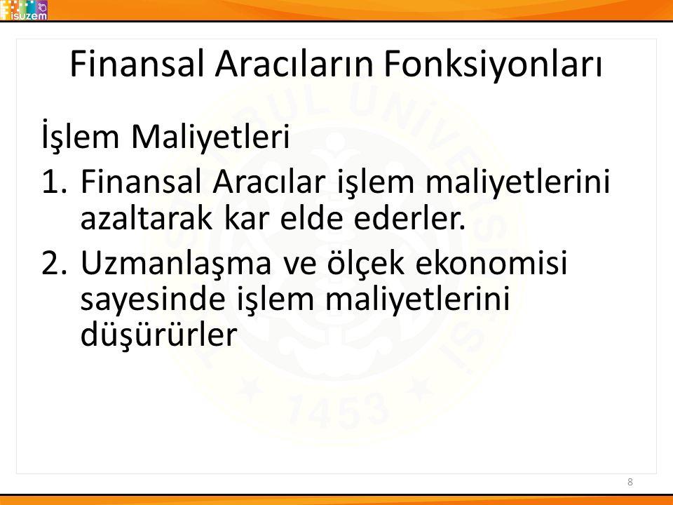 Finansal Aracıların Fonksiyonları