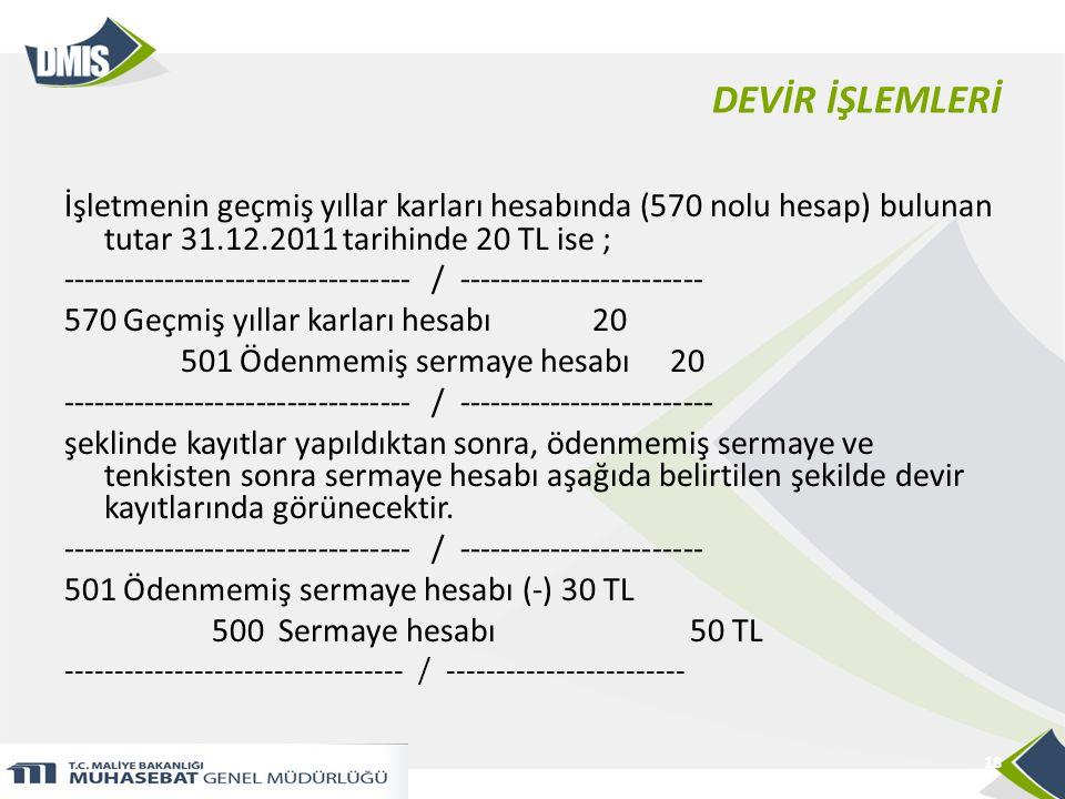 DEVİR İŞLEMLERİ İşletmenin geçmiş yıllar karları hesabında (570 nolu hesap) bulunan tutar 31.12.2011 tarihinde 20 TL ise ;
