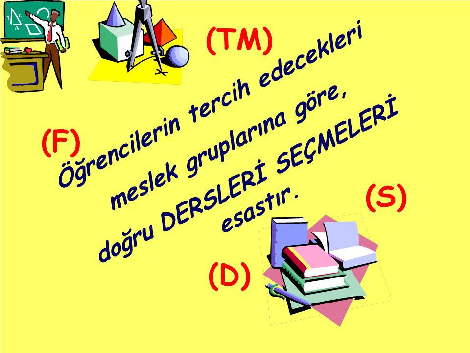 (TM) (F) (S) (D) Öğrencilerin tercih edecekleri