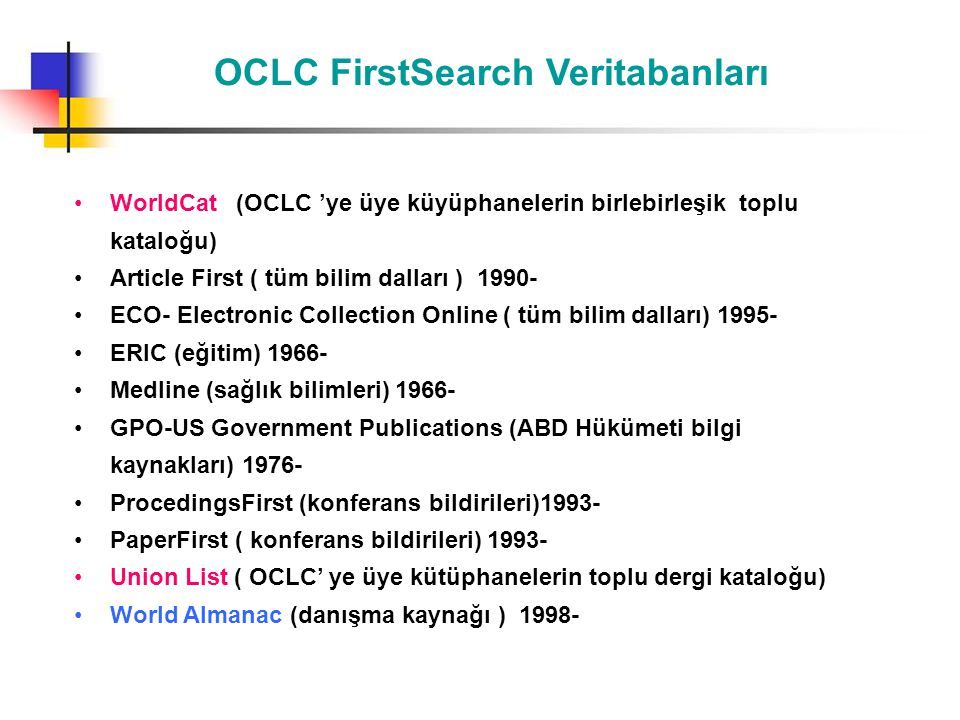 OCLC FirstSearch Veritabanları