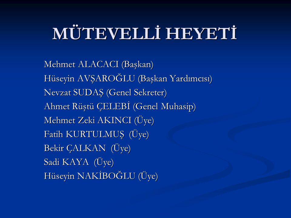 MÜTEVELLİ HEYETİ Mehmet ALACACI (Başkan)