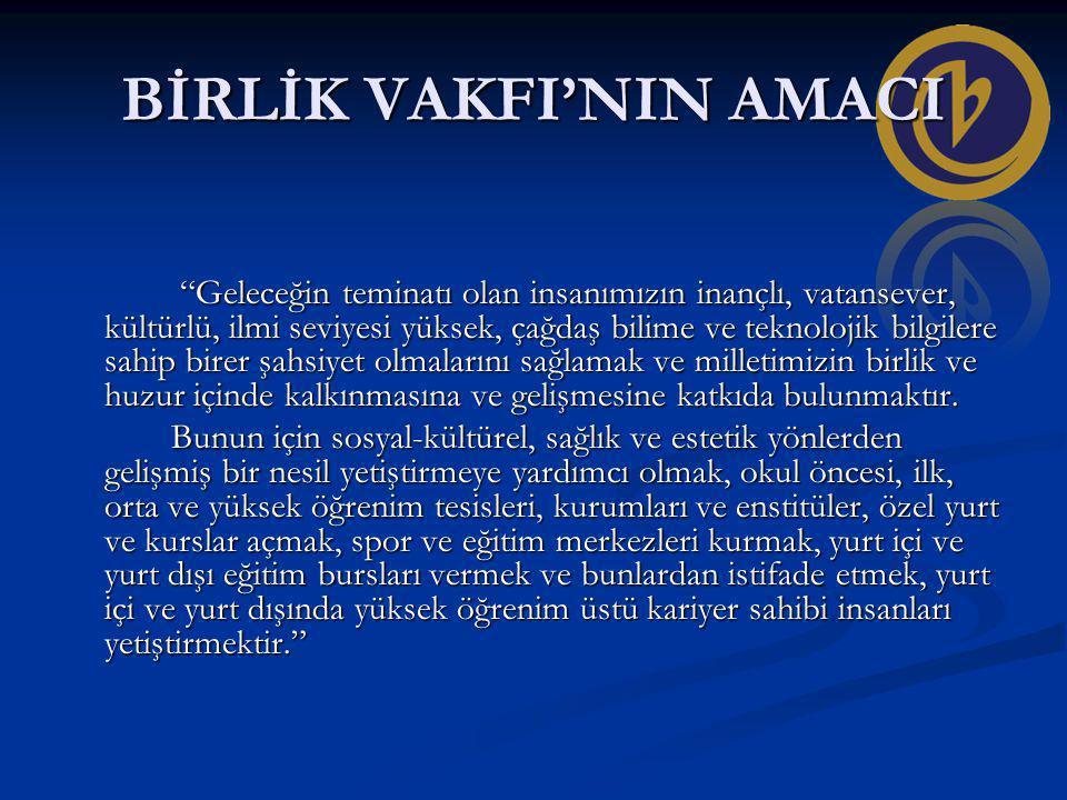 BİRLİK VAKFI'NIN AMACI