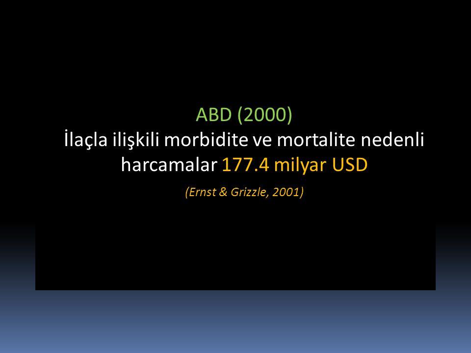ABD (2000) İlaçla ilişkili morbidite ve mortalite nedenli harcamalar 177.4 milyar USD.