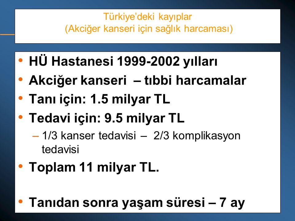 Türkiye'deki kayıplar (Akciğer kanseri için sağlık harcaması)