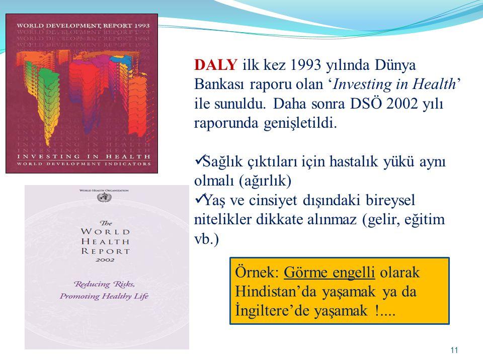 DALY ilk kez 1993 yılında Dünya Bankası raporu olan 'Investing in Health' ile sunuldu. Daha sonra DSÖ 2002 yılı raporunda genişletildi.